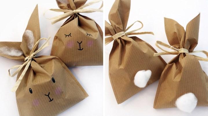 Häschen-Tüten aus Craftpapier sind perfekt für Mitgebsel und passen zum Waldtiere-Geburtstag aber auch zu einem Osterfest.