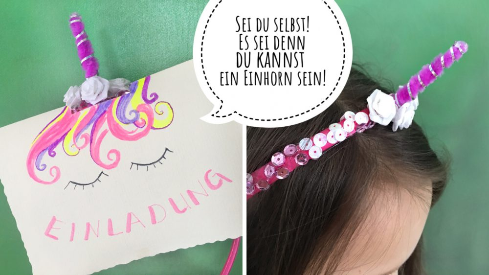 Einhornparty Einladung Mit Haarschmuck Juhubelboxde