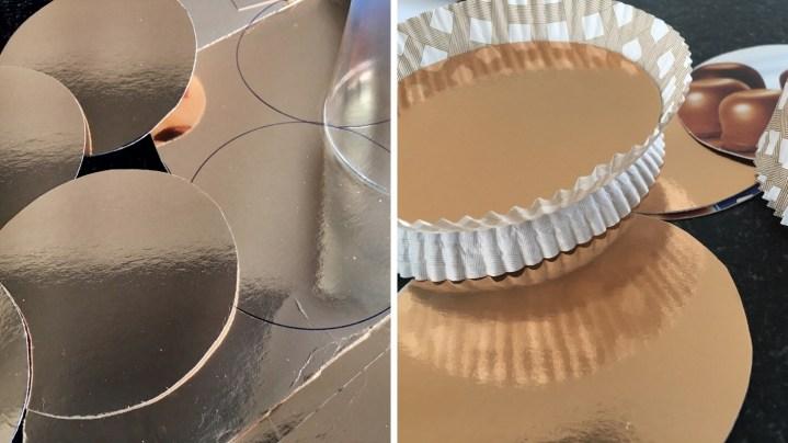 Runde Kreise aus Schokokussverpackungen schneiden und in die Cupcake Rosetten kleben