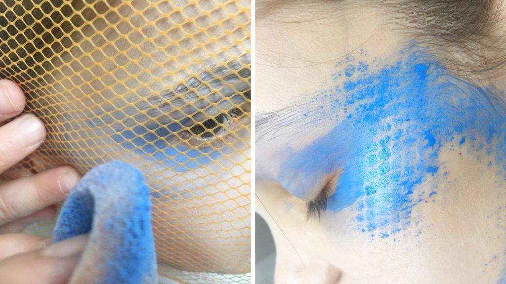 Die Netztechnik ist eine interessante Variante beim Kinderschminken: Die Farbe wird durch ein Netz aufgetragen