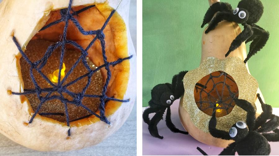 Halloween-Dekokürbis mit Spinnennetz und Spinnen