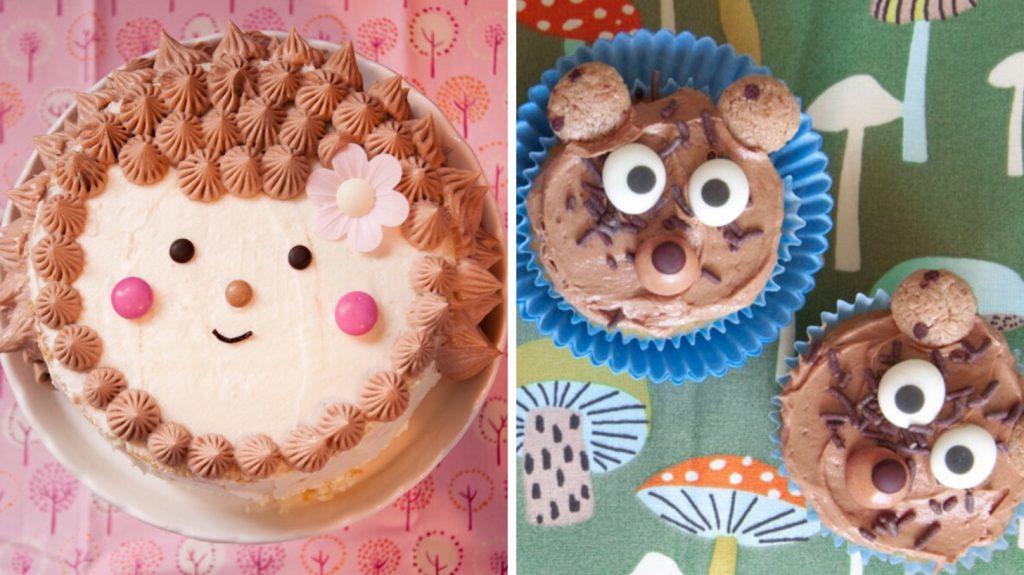 Igel und Bären sind typische Waldtiere und sehen als Kuchen und Cupcakes zum Anbeißen aus.