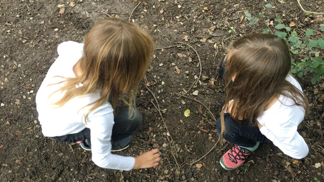 Die Kinder legen bei einer Aufgabe der Wald-Schatzsuche Schmetterlinge aus Zweigen