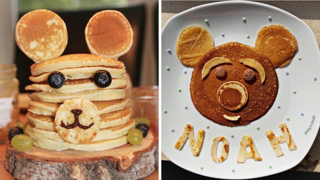 Pancakes einmal zu einem Turm gestapelt und einmal als Platztellerdeko.