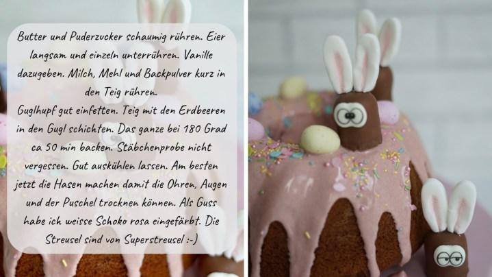 Schritt für Schritt Anleitung für den Erdbeer-Guglhupf mit niedlichen Hasen aus Mini Schokoküssen.