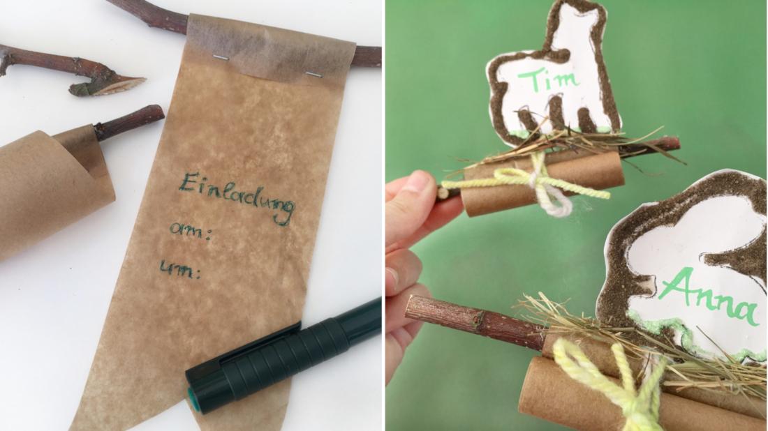 Einladungsflyer aus Backpapier mit dem Einladungstext beschriftet, aufgerollt und dann das Waldtier angeklebt