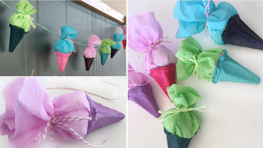Mini-Schultüten aus Eierkartons sind eine hübsche Deko für die Einschulungsfeier