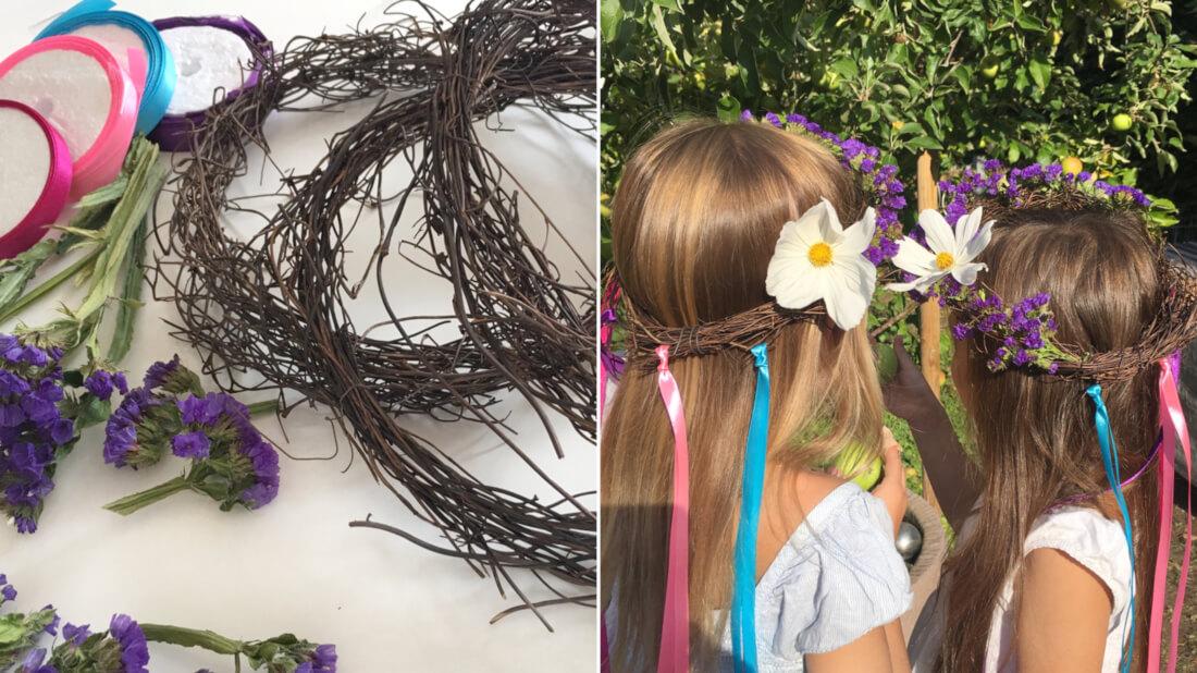 Haarkränze binden - eine schöne Bastelaktion zur Einschulung von Lindas großer Tochter