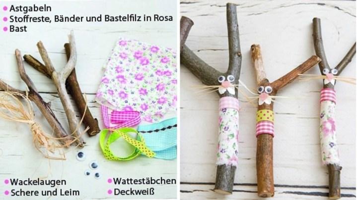 Niedliches Hasen-DIY aus Astgabeln. Perfekte Bastelaktion für einen Waldtiere-Geburtstag.