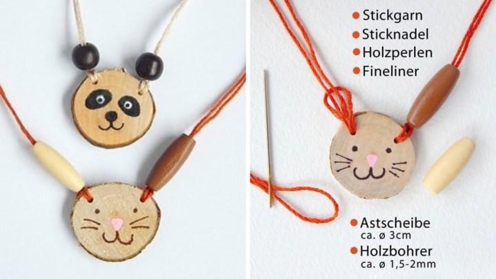 Hübsche Tierketten aus kleinen Holzscheiben und Perlen. Perfekte Bastelidee für den Waldtiere-Geburtstag.