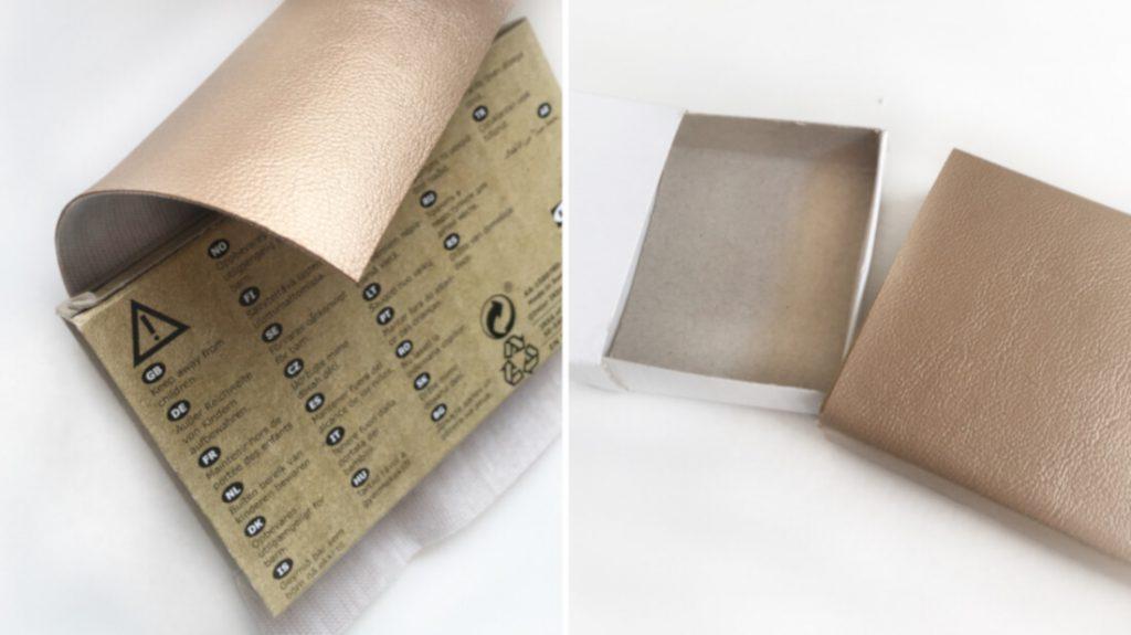 Die Streichholzschachtel wird mit veganem Leder beklebt