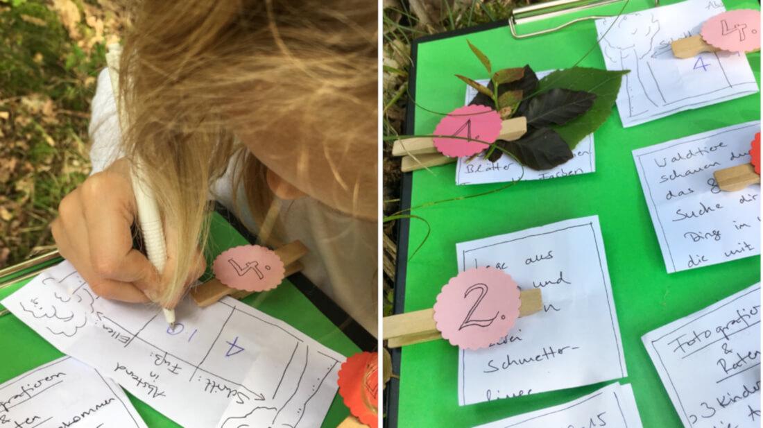 Mit einem Sammel-Klemmbrett können die Ergebnisse der Wald-Schatzsuche dokumentiert werden