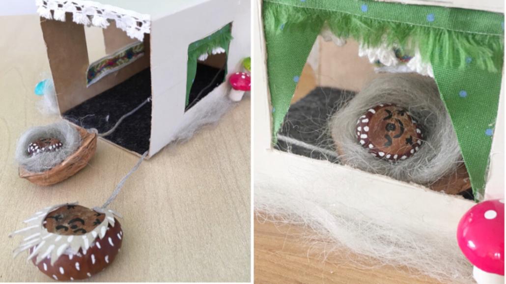 Schaut mal wie schön unsere Winterschlaf-Igel im Häuschen schlafen