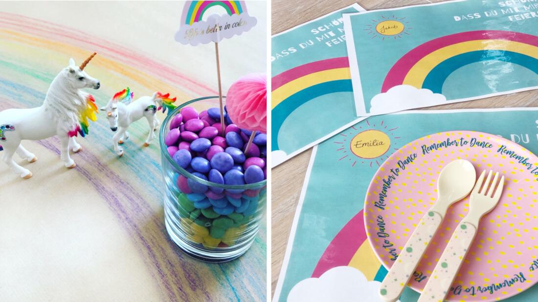 Feen- und Einhornparty Tischdeko mit Regenbögen auf Craftpapier, Smarties schichtweise in Gläsern und einem Regenbogen Tischset zum Ausdrucken